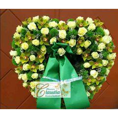 Begräbnis Rosen Herz Orchidee weiß grün