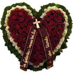 Begräbnis- Herz rot 2 Reihig