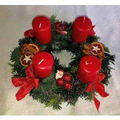 Rustikal rot Adventkranz